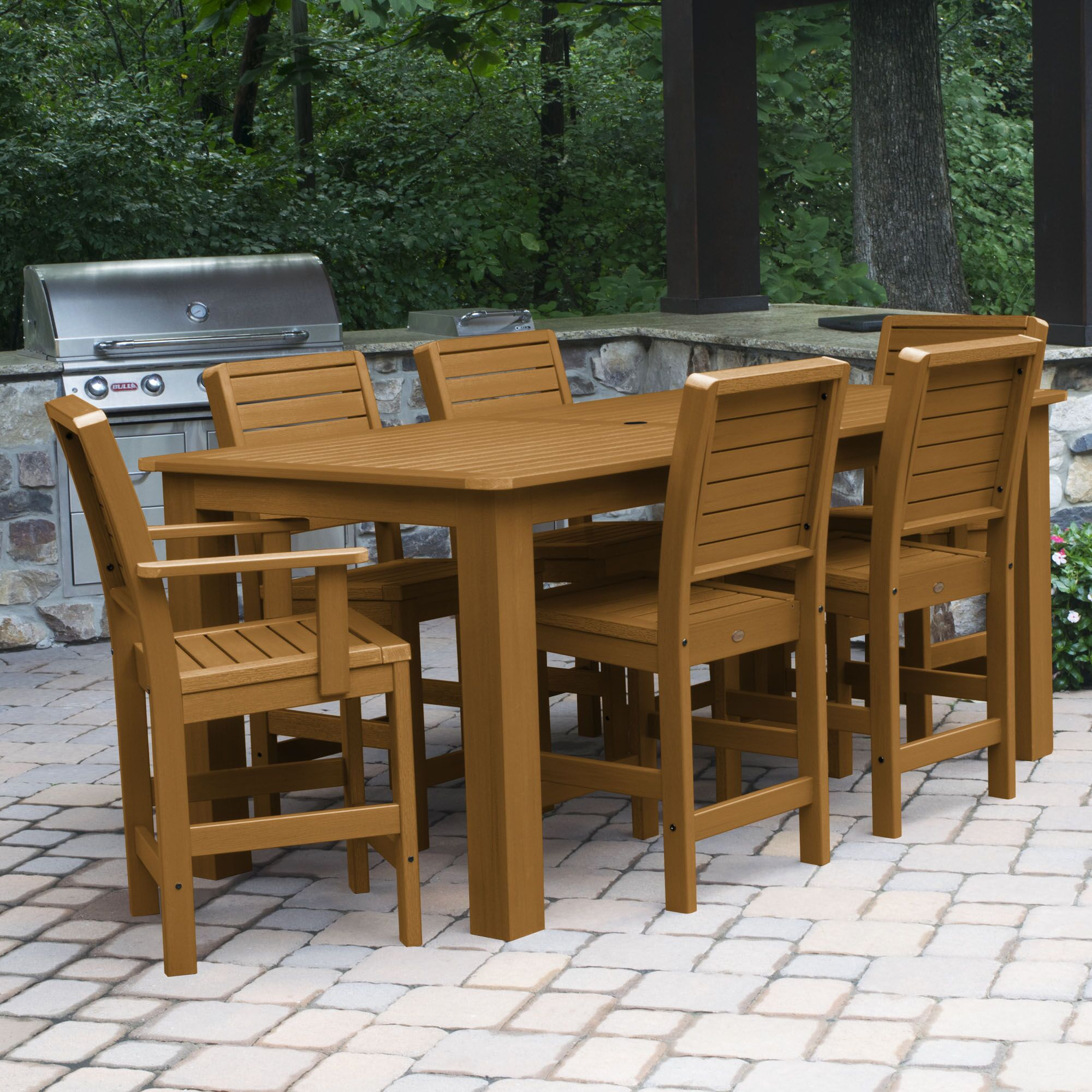 Shondra 7 Piece Rectangular Counter Height Dining Set Color: Toffee, Table Top Size: 43.3'' H x 55.5'' W x 86.5'' L
