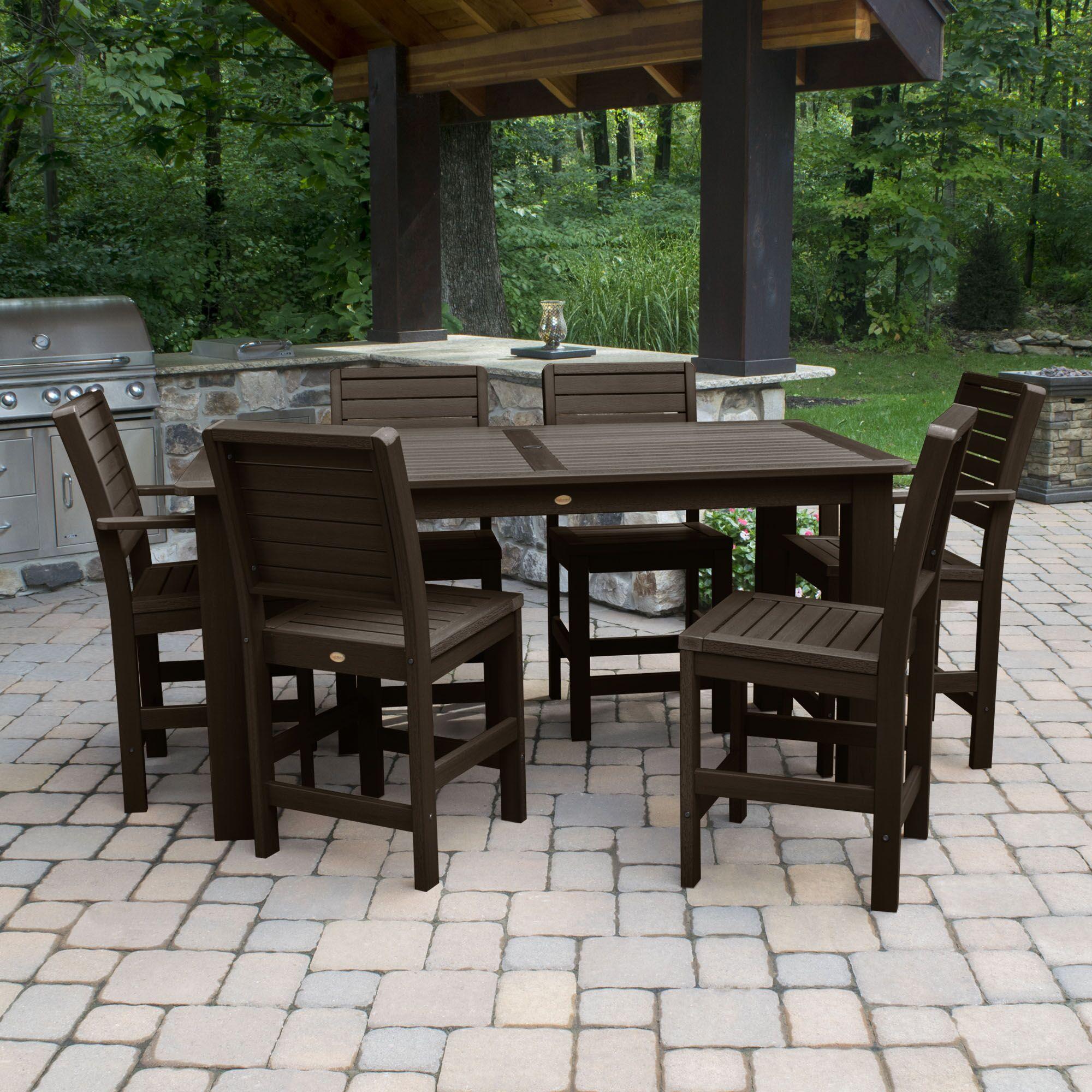 Shondra 7 Piece Rectangular Counter Height Dining Set Color: Weathered Acorn, Table Top Size: 43.3
