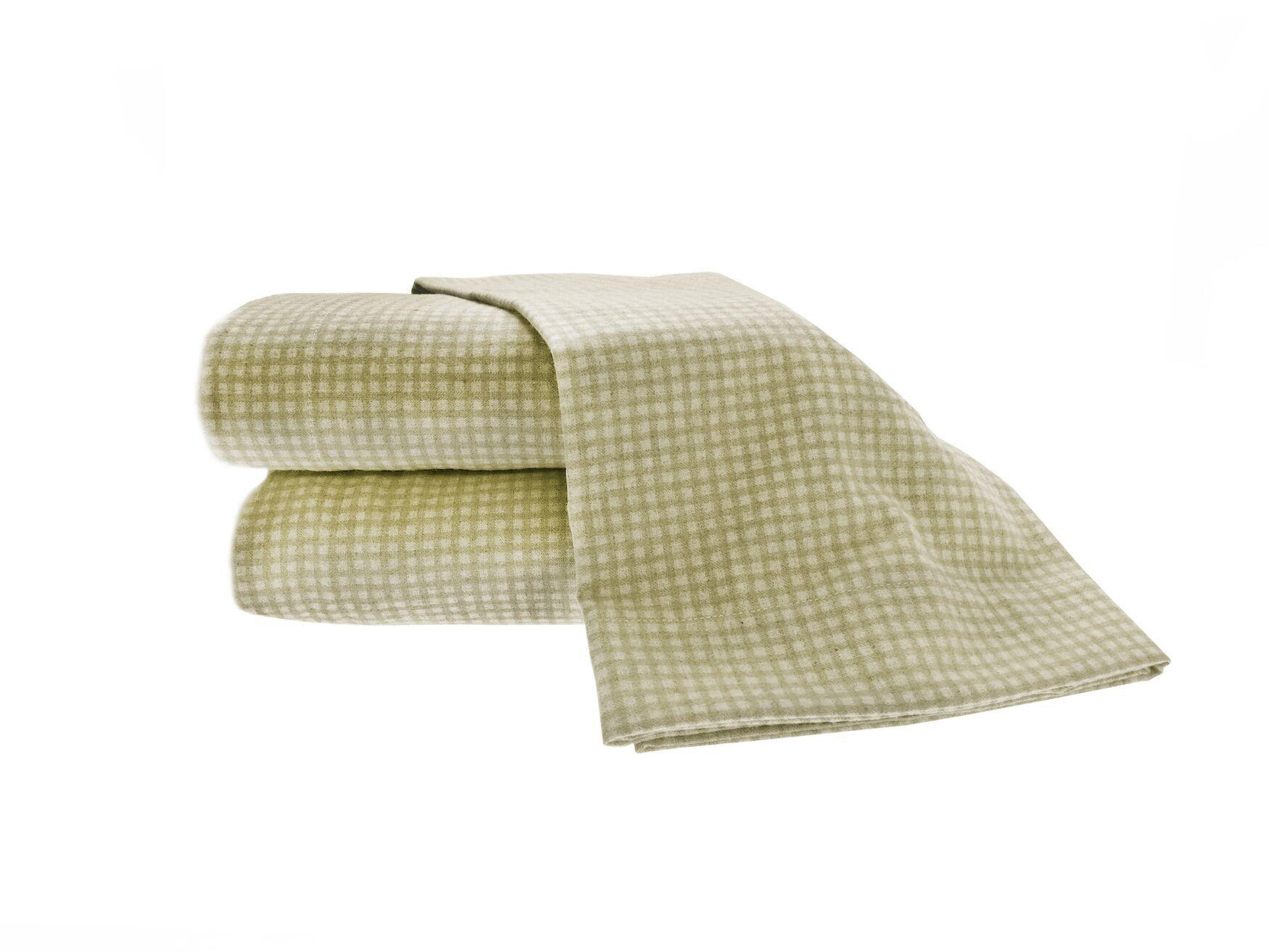 Heather Ground Flannel Gingham Cotton Sheet Set Color: Sage, Size: Full