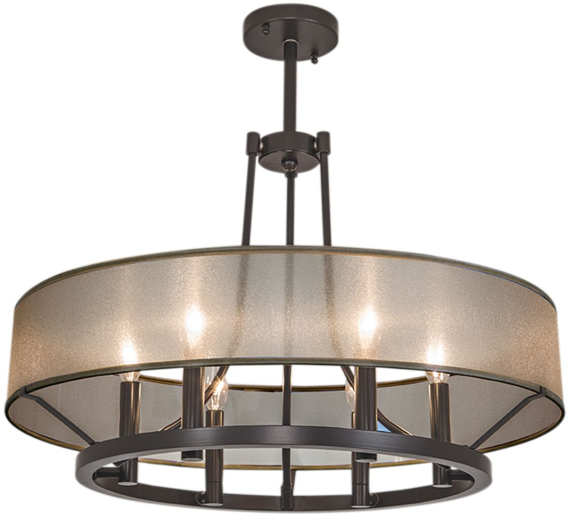 Chris 6 Light Candle-Style Chandelier Shade Color: Black, Finish: Brush Nickel