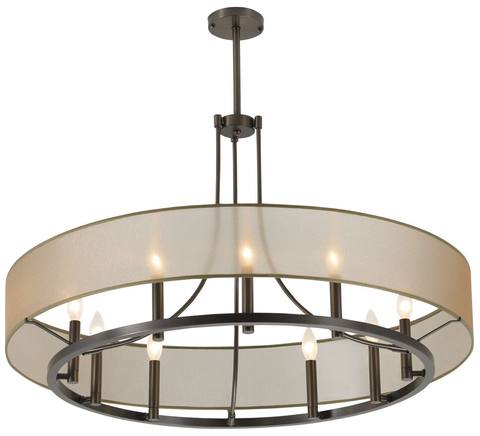 Chris 9 Light Candle-Style Chandelier Shade Color: Black, Finish: Brush Nickel