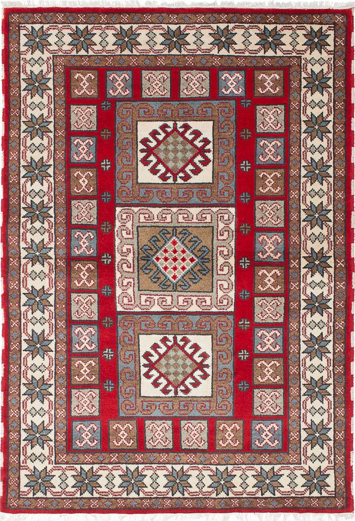 Area Rugs One Of A Kind Doering Hand Knotted Cream Red Area Rug