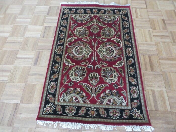 Area Rugs One Of A Kind Rhyne Hand Knotted Wool Burgundy Black Area