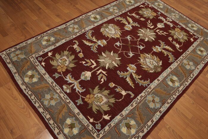 Area Rugs One Of A Kind Reinhard Hand Tufted Wool Burgundygray Area