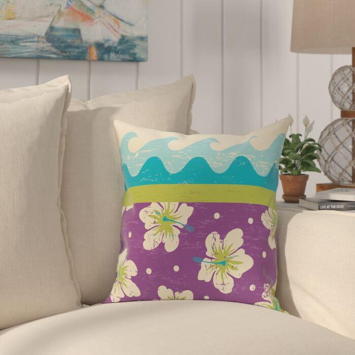 Golden Beach Floral Throw Pillow