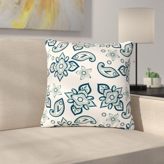 Accent Pillows Gukuuki Batik Paisley Outdoor Throw Pillow March 2019