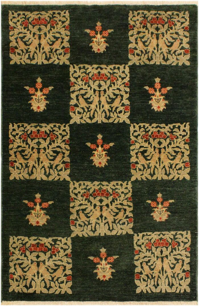 Area Rugs One Of A Kind Seraphina Hand Knotted Wool Green Tan Area