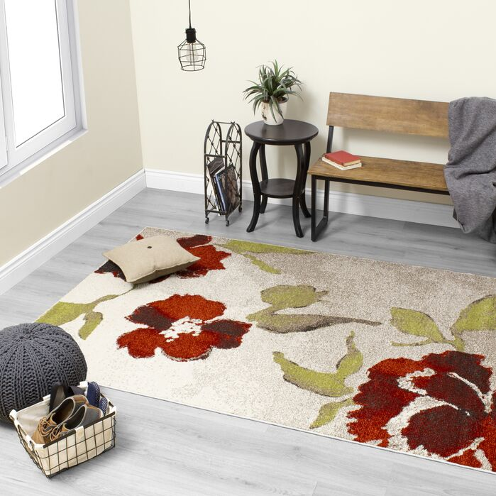 Area Rugs Lyonsdale Floating Flowers Cream Red Area Rug February 2019