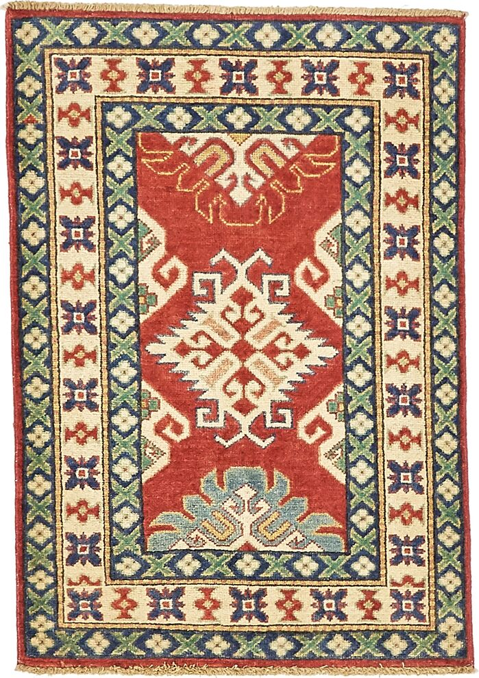 Area Rugs One Of A Kind Alayna Hand Knotted Wool Beigeredgreen