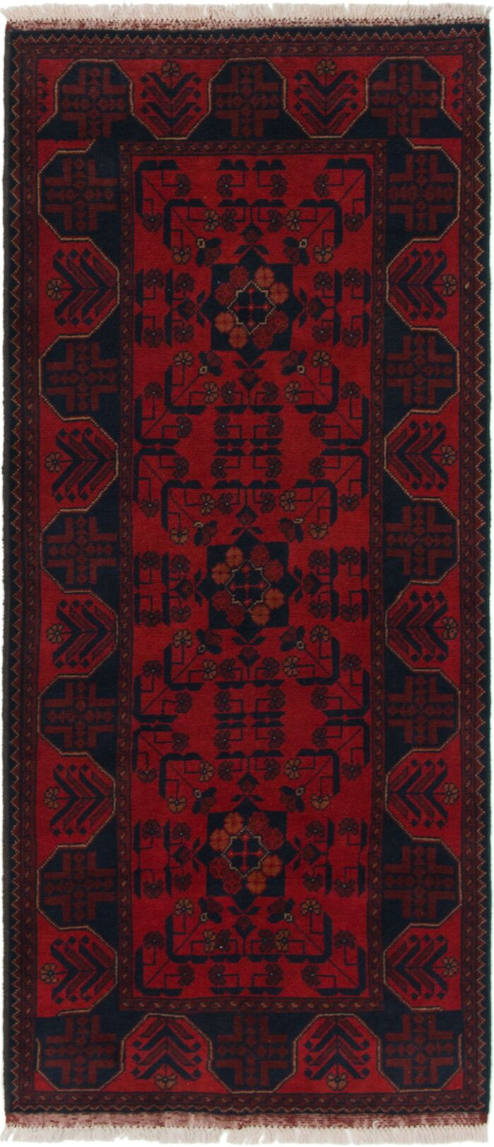 Area Rugs One Of A Kind Auxvasse Hand Knotted Wool Red Blue Area Rug
