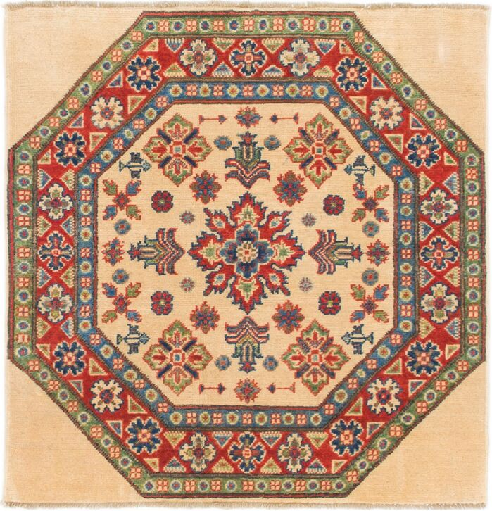 Area Rugs One Of A Kind Alayna Hand Knotted Wool Cream Red Area Rug