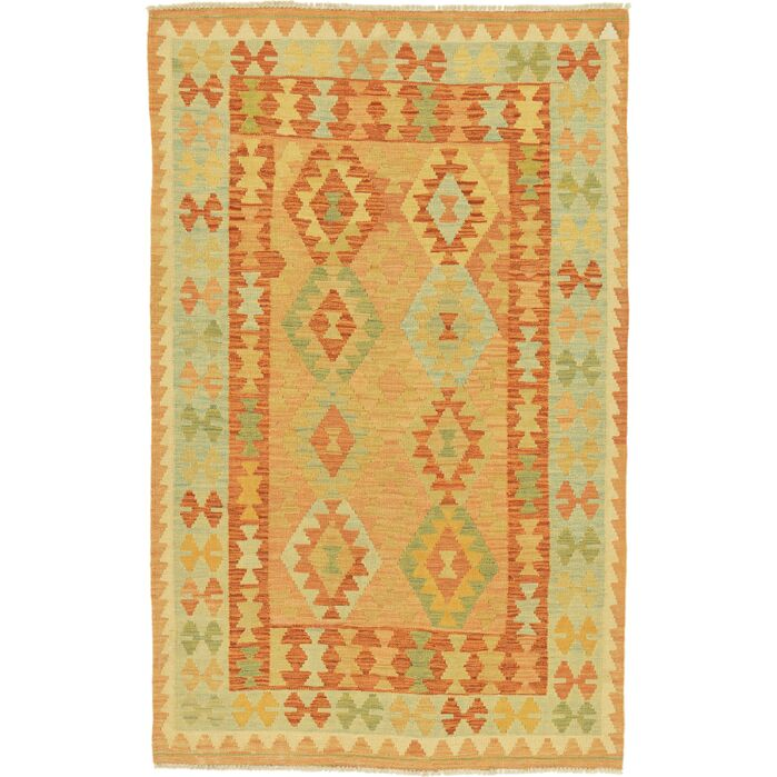 Area Rugs One Of A Kind Elland Hand Knotted Wool Redgreenorange