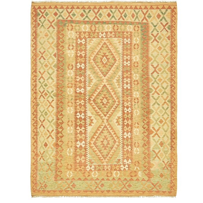 Area Rugs One Of A Kind Elland Hand Knotted Wool Rust Red Green Area