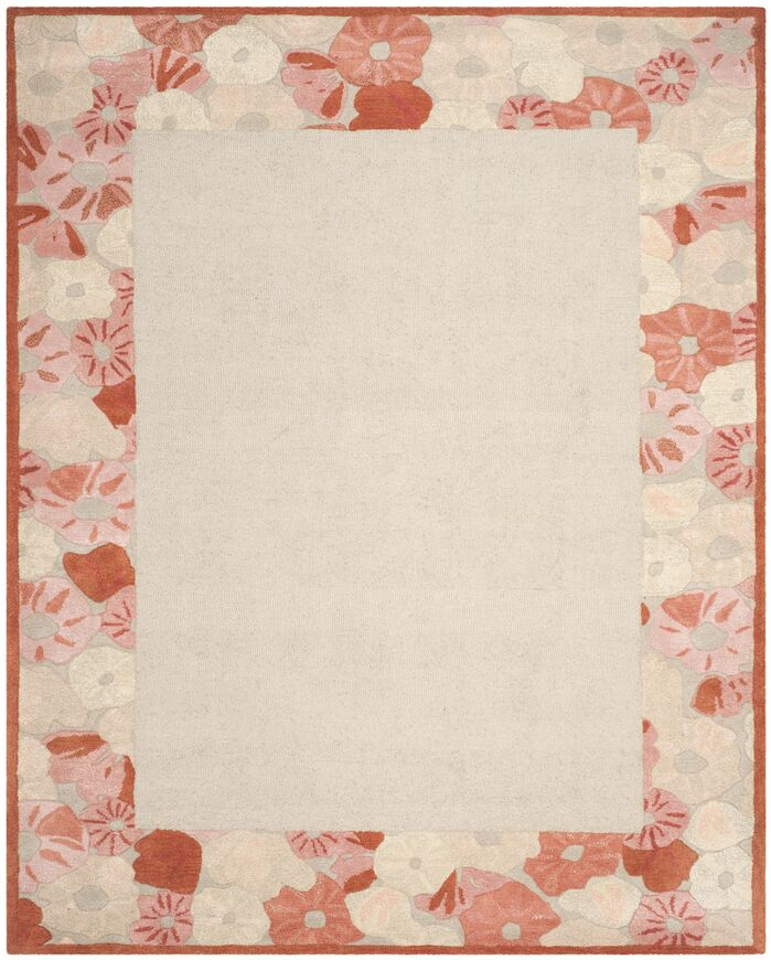 Area Rugs Poppy Border Hand Tufted Cayenne Red Rug