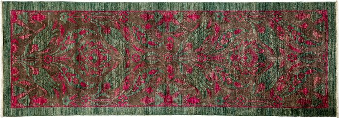 Area Rugs One Of A Kind Arts And Crafts Hand Knotted Green Red Area