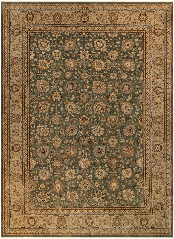 Area Rugs Ernesto Traditional Hand Knotted Wool Green Tan Area Rug