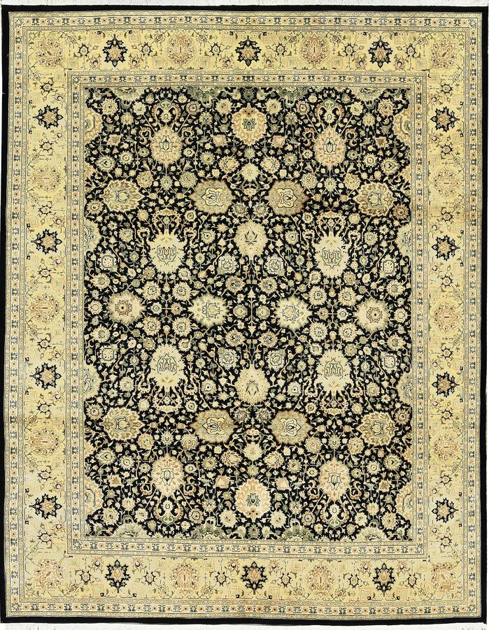 Area Rugs One Of A Kind Hand Knotted Worsted Wool Black Gold Area Rug
