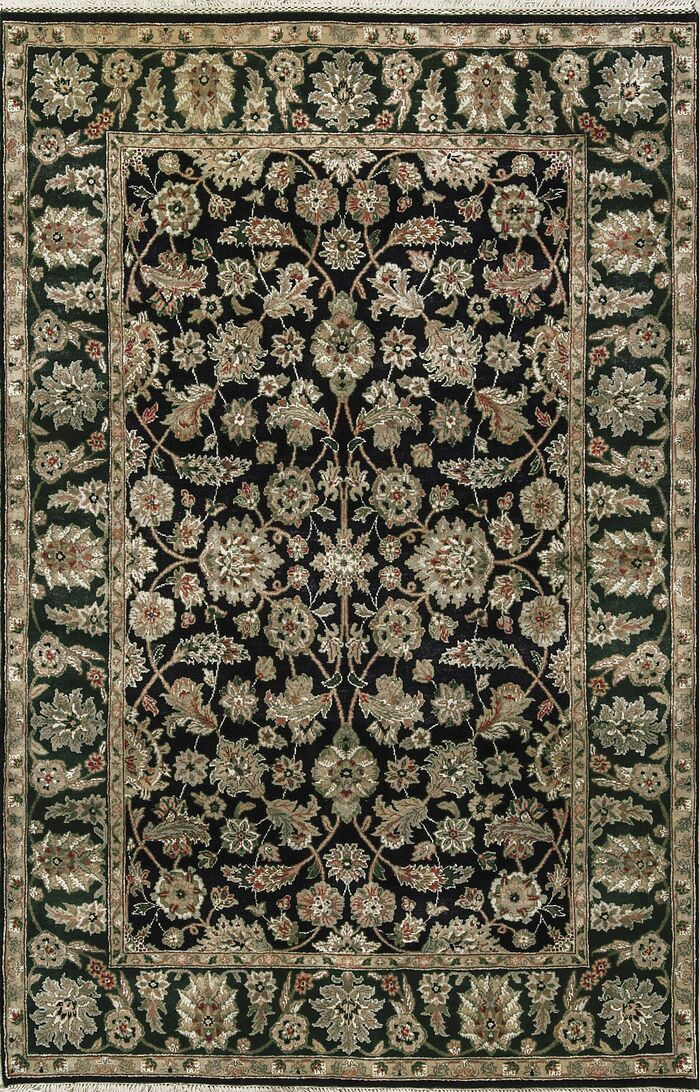 Area Rugs One Of A Kind Hand Knotted Wool Black Green Area Rug