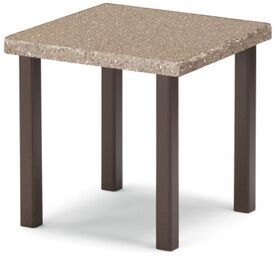 Synthestone Tables Square Aluminum SideTable Frame Finish: Gloss White, Top Finish: Cappuccino