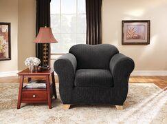 Stretch Pinstripe Box Cushion Armchair Slipcover