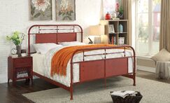 Jacinta Metal Panel Bed Color: Red, Size: California King