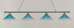 Mendez 4-Light Billiard Light Finish: Brushed Nickel, Shade Color: Teal