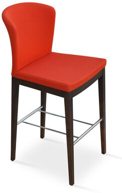 Capri Bar Stool Upholstery: Camira Wool - Dark Grey, Finish: Walnut