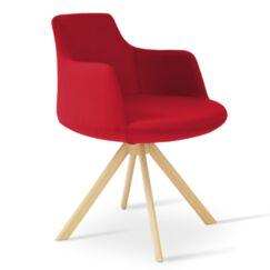 Dervish Sword Chair Frame Color: Natural, Upholstery Color: Green