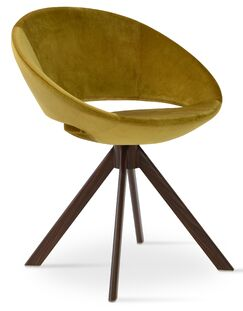 Crescent Sword Side Chair Leg Color: Black, Upholstery Color: Bone