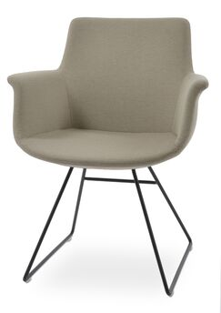 Bottega Wire Arm Chair Upholstery Color: Beige, Leg Color: Bone