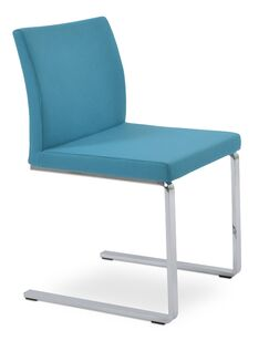 Aria Flat Side Chair Upholstery Color: Camira Wool Turquoise
