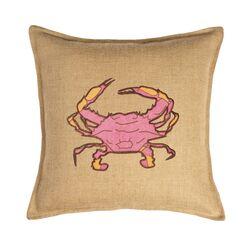 Applique Burlap Throw Pillow Color: Pink Crab