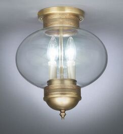 Onion 2-Light Sockets No Cage Semi Flush Mount Finish: Raw Brass, Shade Color: Clear Seedy