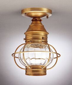 Onion Socket Caged Semi Flush Mount Finish: Raw Brass, Shade Color: Clear