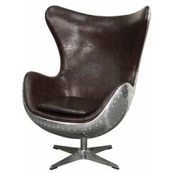 Devaughn Swivel Rocker Wingback Chair Upholstery: Distressed Java