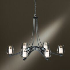 Ribbon 6-Light Shaded Chandelier Finish: Mahogany, Shade Color: Opal