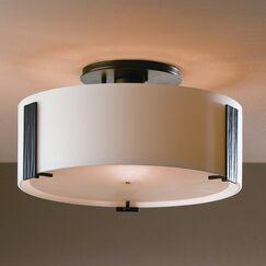 Impressions 1-Light Semi Flush Mount Finish: Brushed Steel, Shade Color: Stone, Bulb Type: (1) 75W G-9 halogen bulb