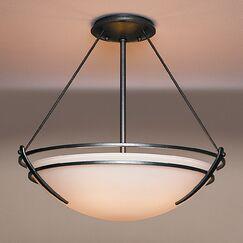 Presidio Large 3-Light Semi Flush Mount Finish: Brushed Steel, Shade Color: Opal, Bulb Type: (3) 100W fluorescent bulbs