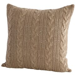 Crochet Decorative Cotton Throw Pillow Color: Beige