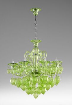 Bella 8-Light Chandelier Shade Color: Green