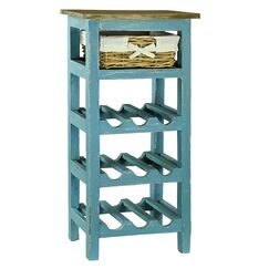 Pervenche 9 Bottle Floor Wine Rack Color: Blue