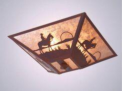 Cowboy Sunset 2-Light Flush Mount Finish: Rust, Shade Color: White Mica