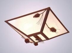 Ponderosa Pine Drop 2-Light Flush Mount Finish: Architectural Bronze, Shade Color: Khaki