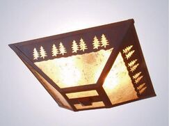 Band of Trees Drop 2-Light Flush Mount Finish: Architectural Bronze, Shade Color: Slag Glass Pretended