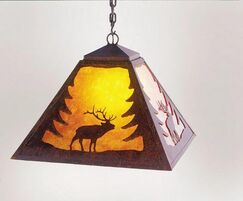 Elk 1-Light Dome Pendant Finish: Mountain Brown, Shade / Lens: Amber Mica