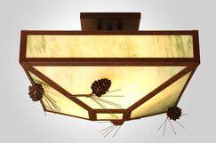 Ponderosa Pine 4-Light Post Drop Semi Flush Mount Ceiling Light Finish: Black, Shade Color: White Mica