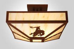 8 Seconds 4-Light Post Drop Semi Flush Mount Finish: Architectural Bronze, Shade Color: Amber Mica