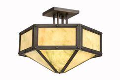 Rivets Hexagon Drop Semi Flush Mount Finish: Old Iron, Shade Color: Slag Glass Pretended
