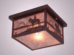 Cowboy Sunset Squaroka Flush Mount Finish: Architectural Bronze, Shade Color: Khaki