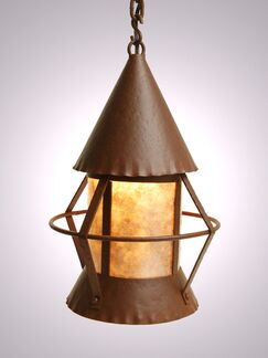Gig Harbor 1-Light Pendant Finish: Old Iron, Shade / Lens: White Mica